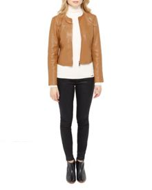 Alam Collarless Leather Jacket