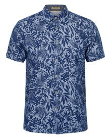 Ted Baker Subzero Floral Short-sleeved Linen Shirt