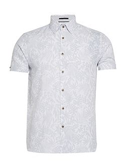 Subzero Floral Short-sleeved Linen Shirt