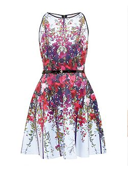 Bloomze Flower Lattice skater dress