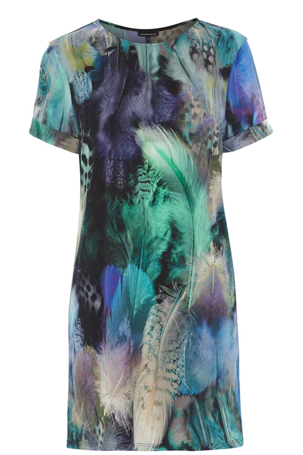 Feather Print Tunic Dress
