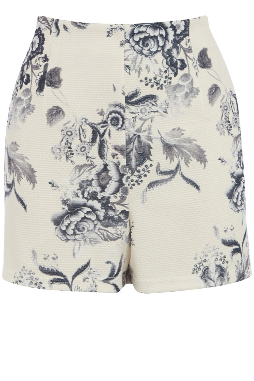 Drawn floral print co-ord shorts