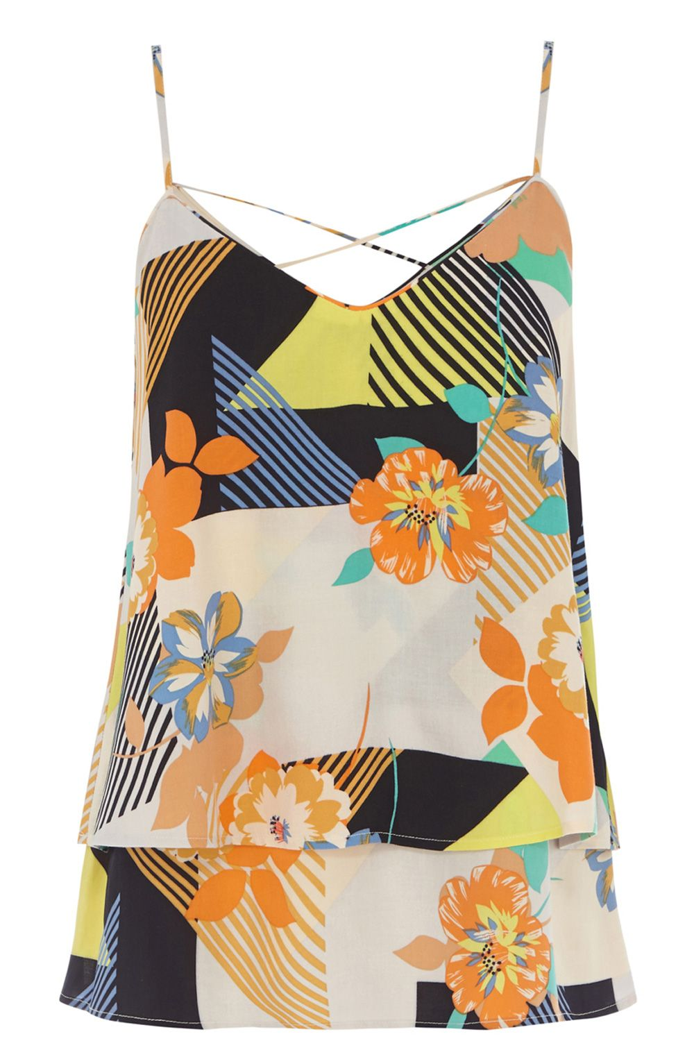 80`s floral double layer camisole