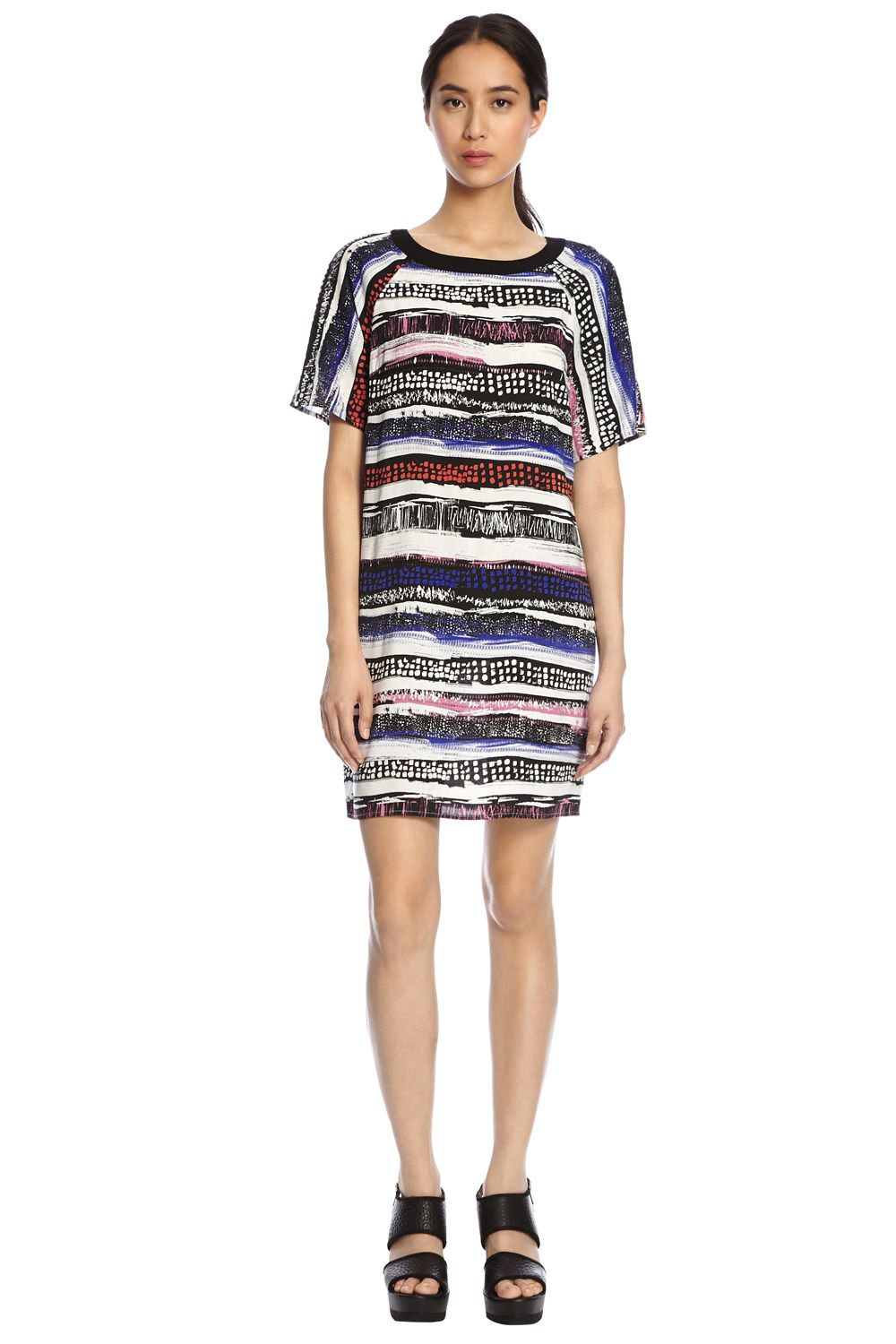 Textured Stripe Print Dress