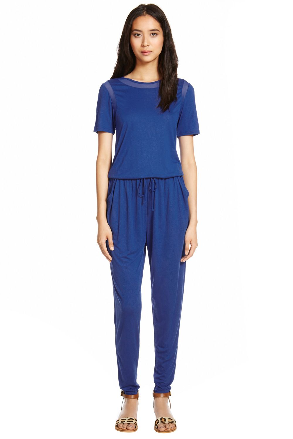 Mesh panel T-shirt jumpsuit