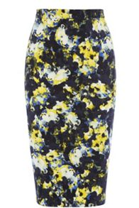 Dark Abstract Floral Pencil Skirt
