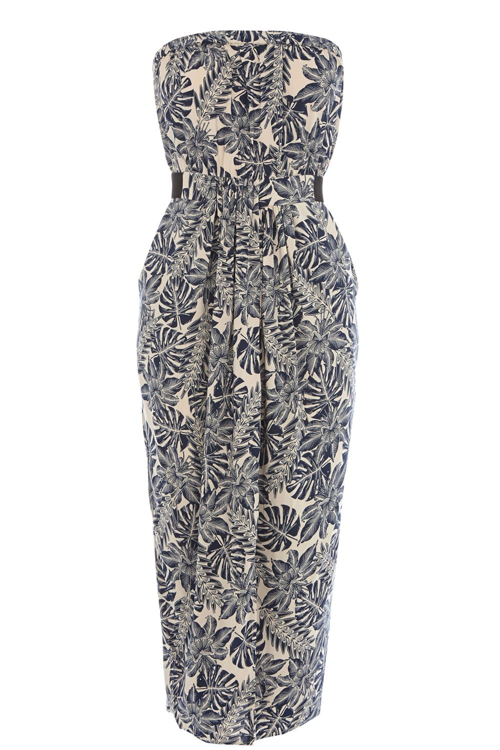 Leaf Bandeau Midi Dress