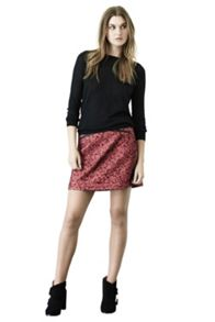 Double zip tweed skirt