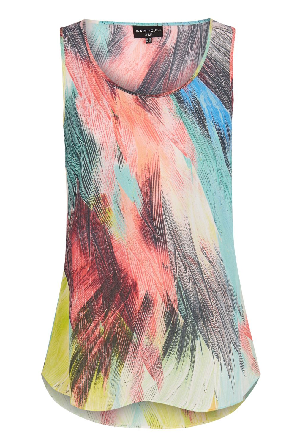 Silk Feather Print Vest