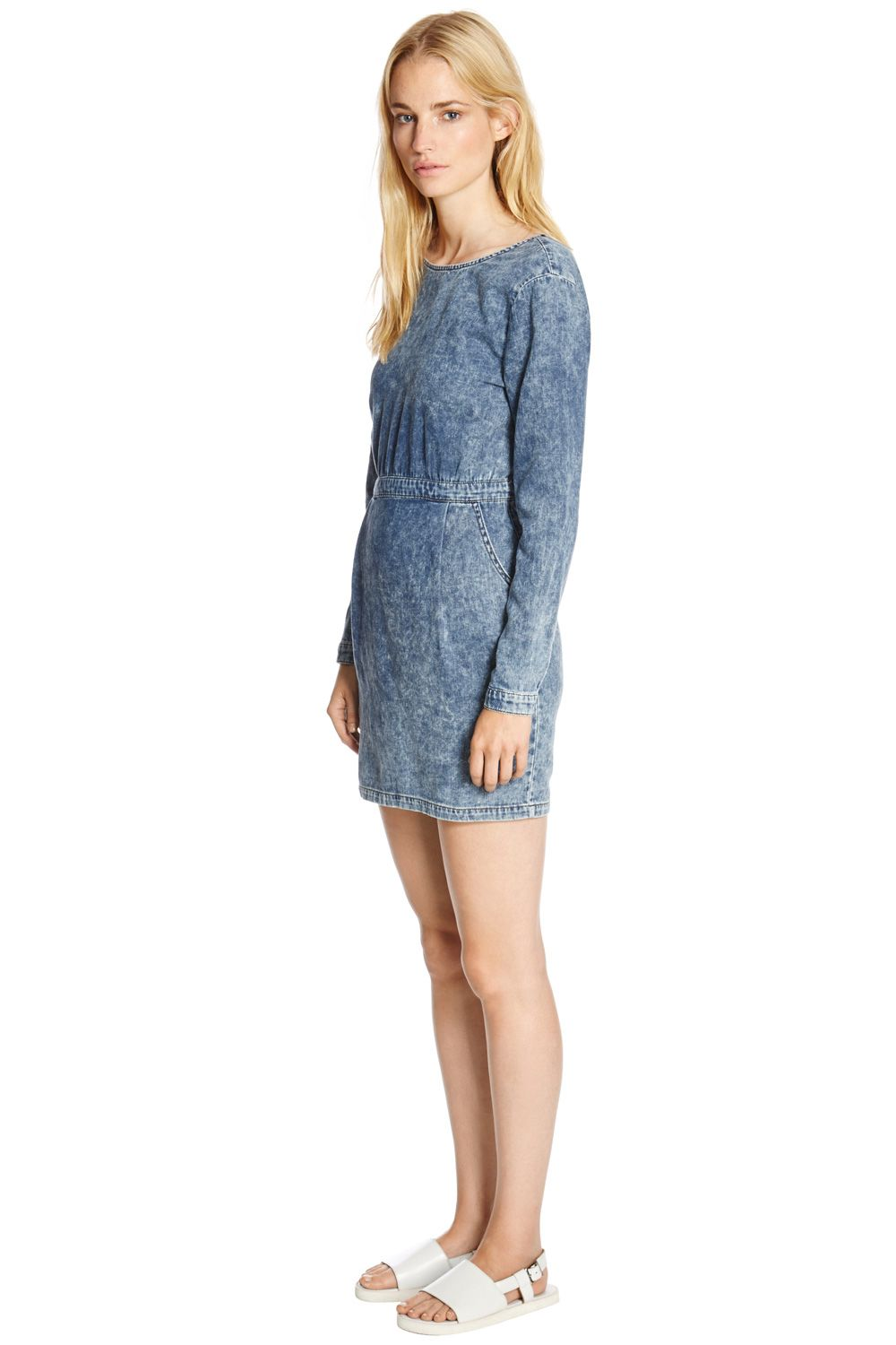 V Back Acid Wash Dress