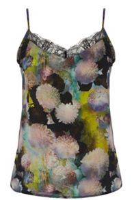 Abstract Floral Print Lace Trim Camisole