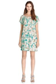 Smudgy Floral Rib Trim Tunic Dress