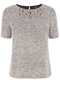 Boucle embellished neck t shirt