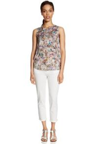 Bright Floral Woven Front Shell Top