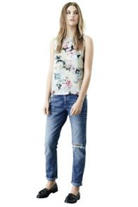Crystal floral woven front shell top