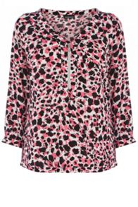 Blurred Animal Zip Front Blouse