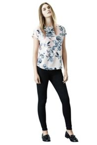 Embellished neck bird print t shirt