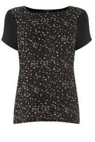 Mini Shadow Print Woven Front Top