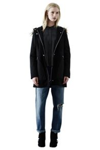Fabric Mixed Panelled Parka