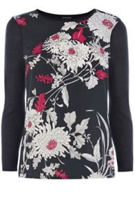 Oriental floral woven jumper
