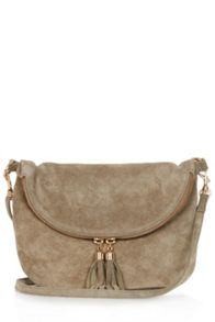 Suede zip round crossbody bag
