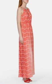 Printed Pleat Maxi Dress