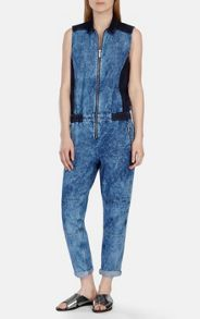 Acid wash denim jumpsuit