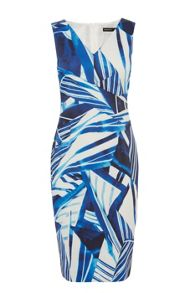 Graphic scarf print stretch dress