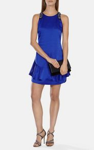Peplum hem mini dress with beaded straps