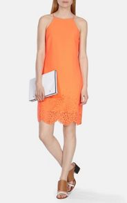 Karen Millen Laser cut neon crepe dress