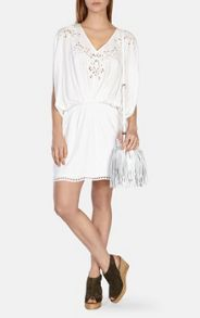 Draped dress with embroidery and cutwork