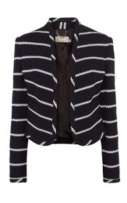Navy and white striped jersey jacket