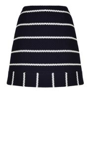 Navy and white striped jersey mini skirt