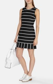 Karen Millen Navy/white honeycomb stripe jersey dress