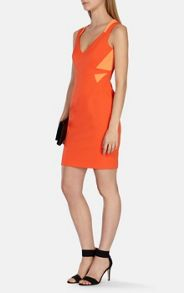 Orange stretch ottoman shift dress
