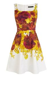 Colourful painted floral cotton dress