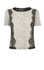 Graphic lace appliqued panelled top