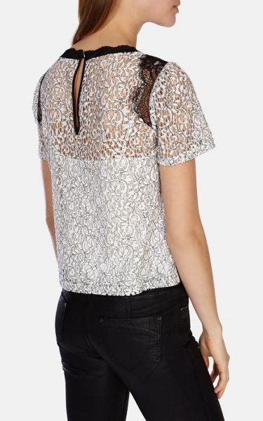 Karen Millen Graphic lace appliqued panelled top