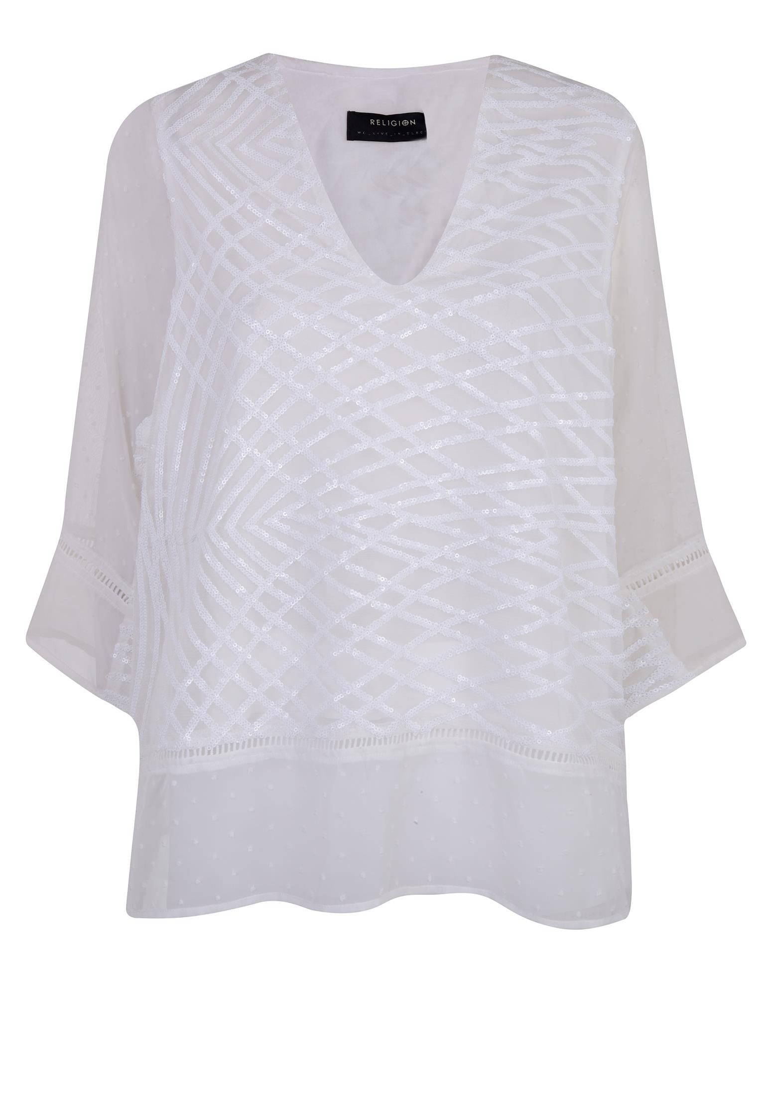 Religion Sheer elbow sleeve top, White