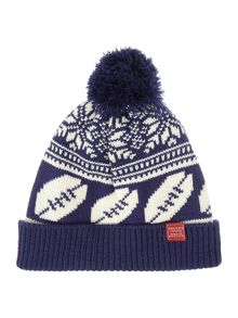 Joules Boys Rugby Ball Fairisle Print Bobble Hat