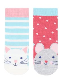 Girls Cat And Mouse Socks
