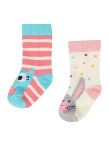 Girls Owl And Hare Socks