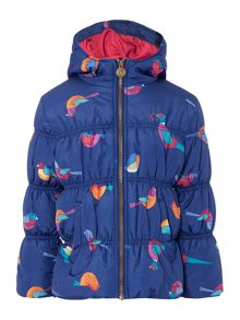 Joules Girls Bird Printed Hooded Padded Jacket
