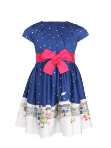 Joules Girls Christmas Scene Capped Sleeved Pleated Dres