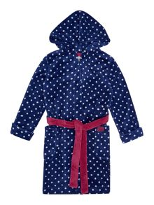 Joules Girls Polka Dot Fleece Dressing Gown