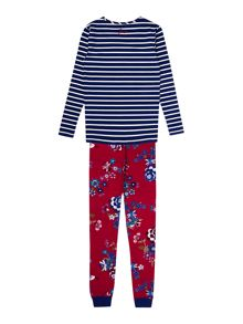 Joules Girls Robin Logo Top And Floral Bottom Pyjamas