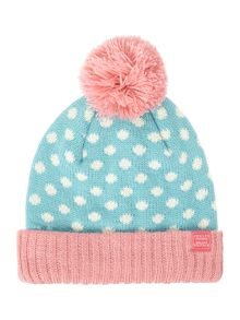 Joules Girls Polka Dot Bobble Hat