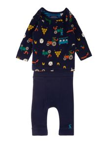 Boys Farmer Print Two Piece Set