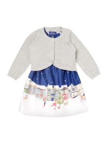 Joules Girls Christmas Scene Dress With Lurex Cardigan