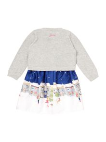 Girls Christmas Scene Dress With Lurex Cardigan